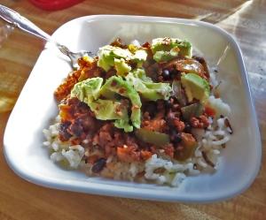 Here's the completed Chorizo Fajita Bowl with avocado,  so yummy!