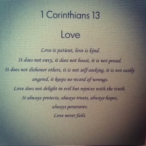 Love is patient; love is kind.