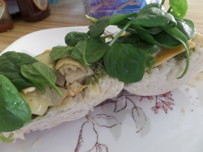 Here's what the sandwich looks like open-faced!